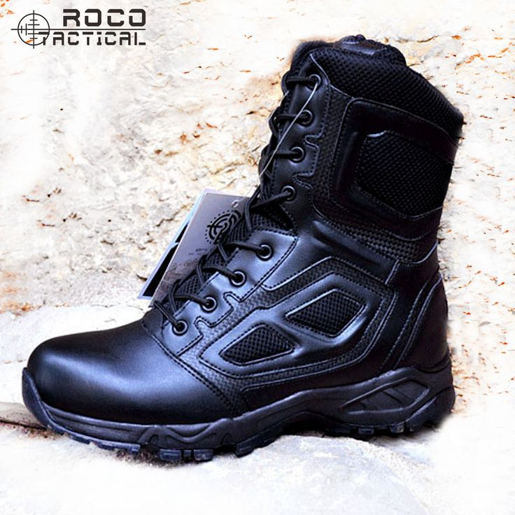 ROCOOUTDOOR Mens Hking Boots US Army Tactical Boots Side Zip Tactical Jungle Boots Combat Military Swat Boots