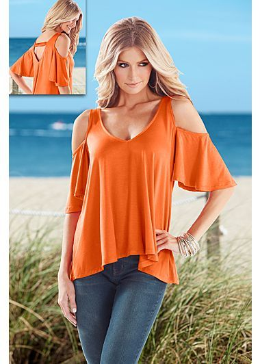 Orange (OR) Flowy Cold Shoulder Top $29  Get ready for sunshine and sweet breezes! · 	 Slight high low hem   · 	 V-neck with elastic strap at back   · 	 93% Rayon, 7% spandex   · 	 Made in USA
