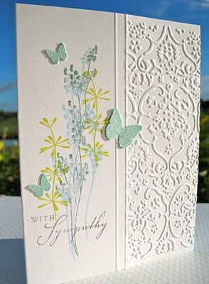 Sympathy Card, gorgeousEmbossing Folder, Cards Ideas, Sympathy Cards, Beautiful Embossing, Butterflies, Wahine Ink, Cards Sympathy, Martha Stewart, Stamps