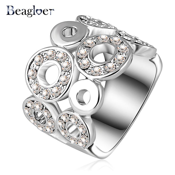 Beagloer 2016 New Design Engagement Rings Silver Color Genuine Austrian Crystal SWA Element Round Ring Fashion Jewelry Ri-HQ0061