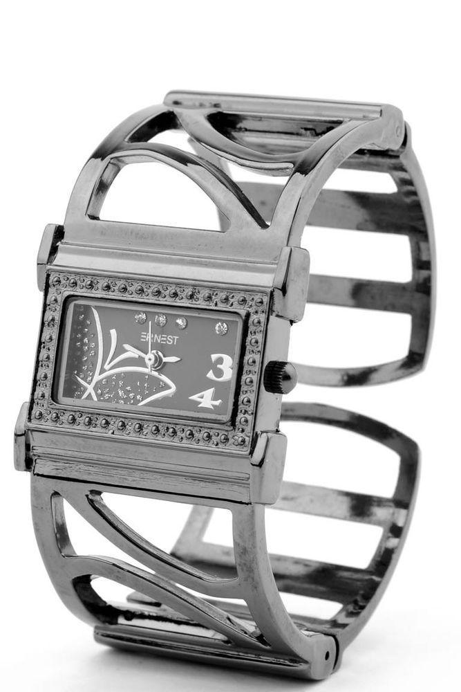 NEU! Schicke Spangenuhr Armreif Uhr Schmetterling Strass  Armbanduhr Damen Quarz
