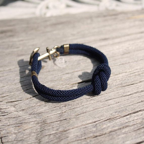 Nautical sailor's anchor bracelet  the Overhand Knot by byMarisSal