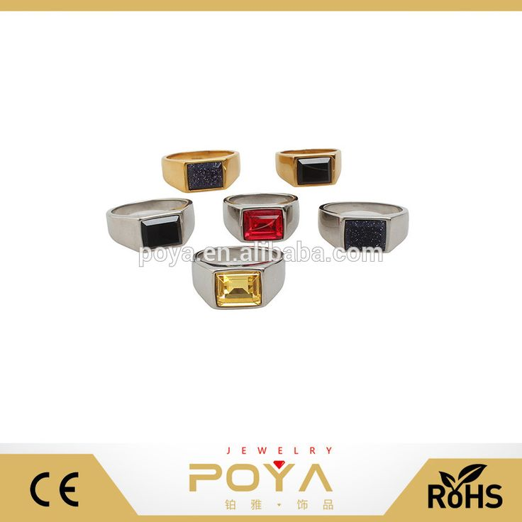 POYA Jewelry Custom One Stone Ring Designs Gold/Silver Plated Stainless Steel Men Ring Wholesale