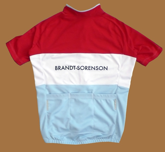 Chic, sophisticated clean design. Cycling jersey by Brandt-Sorenson in blood orange and powder blue. HOT!