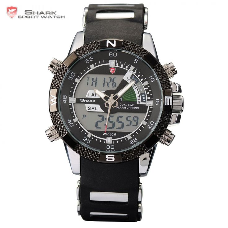 Porbeagle SHARK Sport Watch Military Relogio Digital Analog Dual Time Alarm Silicone Black Quartz Men Wristwatch Watches /SH042