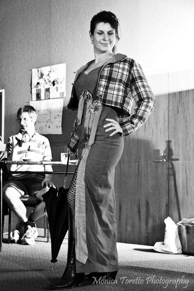 Designer turned model Sharleen Kiff in her own design at the Invercargill Upcycle Fashion Show.  June 14, 2013.