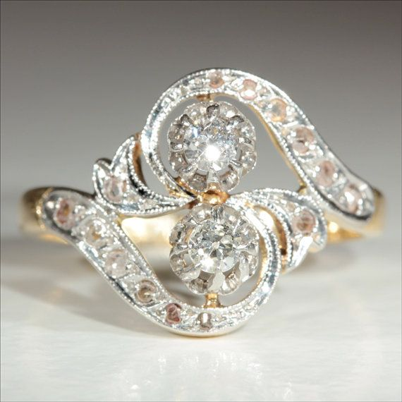 "Antique 18k and Platinum French Art Nouveau Diamond ""Moi et Toi"" Ring"" c.1910 on Etsy, $2,025.00"