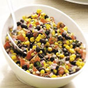 Corn and Black Bean Salad My daughter made this the other day after having it at college made by a suite mate several times and boy is it delicious. Low cal and yummy!!!!