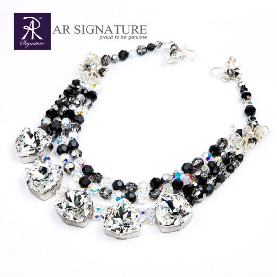 Nightingale, Genuine Swarovski Jewelry, Necklace by AR Signature. Made with Genuine Swarovski Crystal and Plated wire from USA. Stunning necklace to put on with simple dress. This necklace will spark like you've never seen before.  Coated with AR Signature protective coating v1  Color : Combination of Crystal, Jet, Silver Night