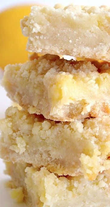 Lemon Curd Bars ~  A buttery crust topped with creamy, homemade lemon curd, topped with even more buttery crumbles.