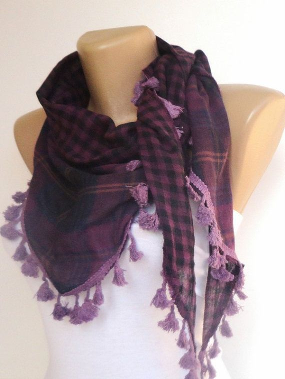 trendscarf  plaid purple tassel scarf  womens by scarvesCHIC, $15.00