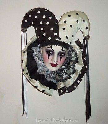 Vintage Jester Mask Wall Hanging Black White Harlequin Signed Ceramic Decor 1993. sold