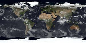 Composite image of an active Pacific and Atlantic storm season