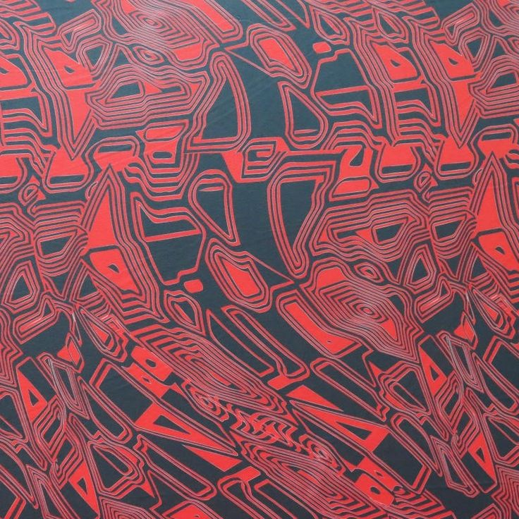 The Fabric Fairy Red and Black Abstract Nylon Spandex Swimsuit Fabric