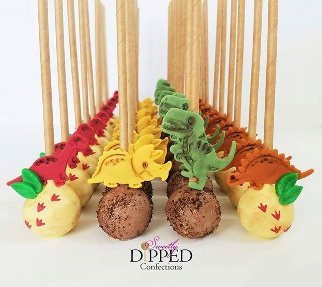 Prehistoric cake pops for a dinosaur-themed birthday party!  Inspired by the fabulous @opopsbyangie  #cakepops #dinosaurcakepops #dinosaurtheme #dinosaurbirthday #dinosaurparty #dinosaurdesserts #sdconfections