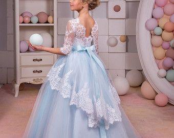 White and Blue Flower Girl Dress Wedding by KingdomBoutiqueUA