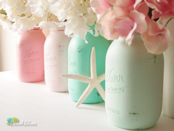 Bahamas - Summer, Beach Wedding and Home Decor - Painted Mason Jar - Vase