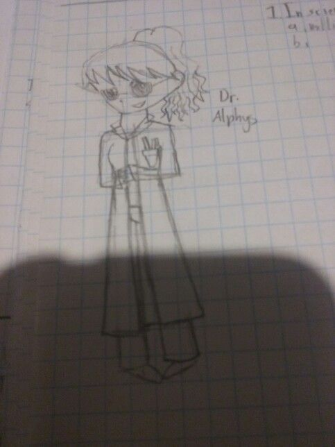A rough sketch of a human Dr. Alphys i did in my science book. Its a science so...