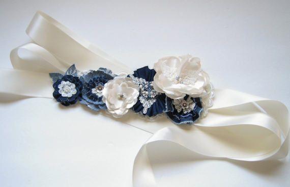 Denim Wedding Dress Sash Belt Blue Denim and Ivory Floral