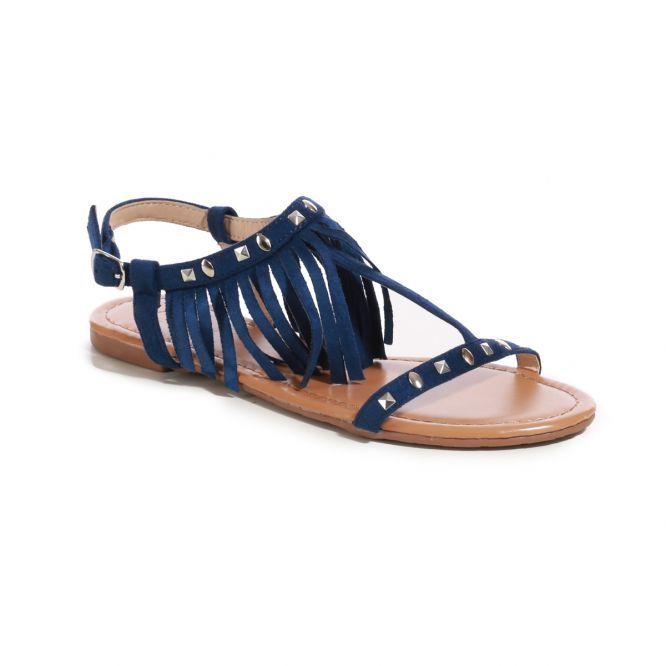 Sandales bleues avec franges et clous