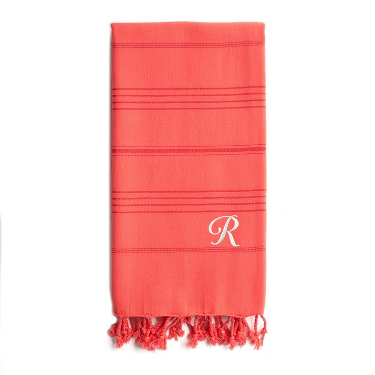 Shop Linum Home Textiles  Summer Fun Coral Monogrammed Pestemal Beach Towel at ATG Stores. Browse our towels, all with free shipping and best price guaranteed.