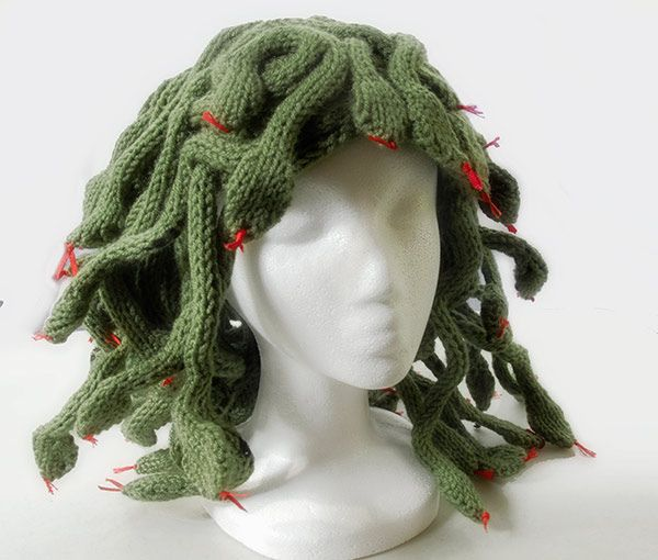 for the mythology geeks: a Medusa wig! http://knithacker.com/2010/12/17/medusa/#, originally posted by rrrphotog at http://www.flickr.com/photos/7445985@N08/