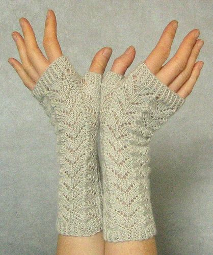 free pattern off of ravelry.com. Lace fingerless gloves.