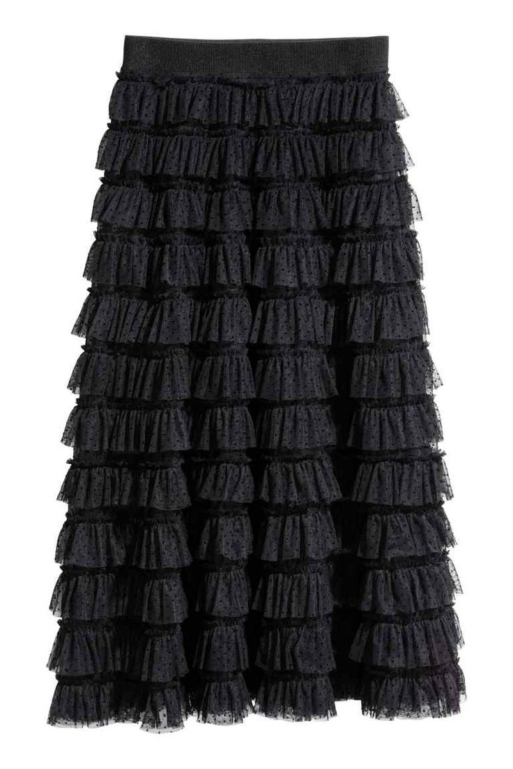 Gonna in tulle a volant - Nero - DONNA | H&M IT