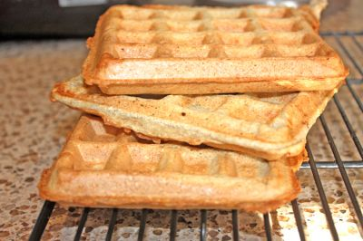 Protein Waffles - made with oats, flax, protein powder, almond milk, egg whites