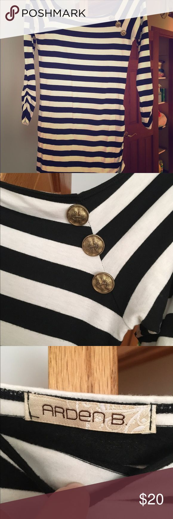 Black and white striped long sleeve ⭐ Black and white striped long sleeve off the shoulder wig gold buttons #130 Arden B Tops Tees - Long Sleeve