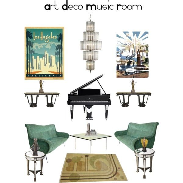 Art Deco Music Room By Jostockton On Polyvore Featuring
