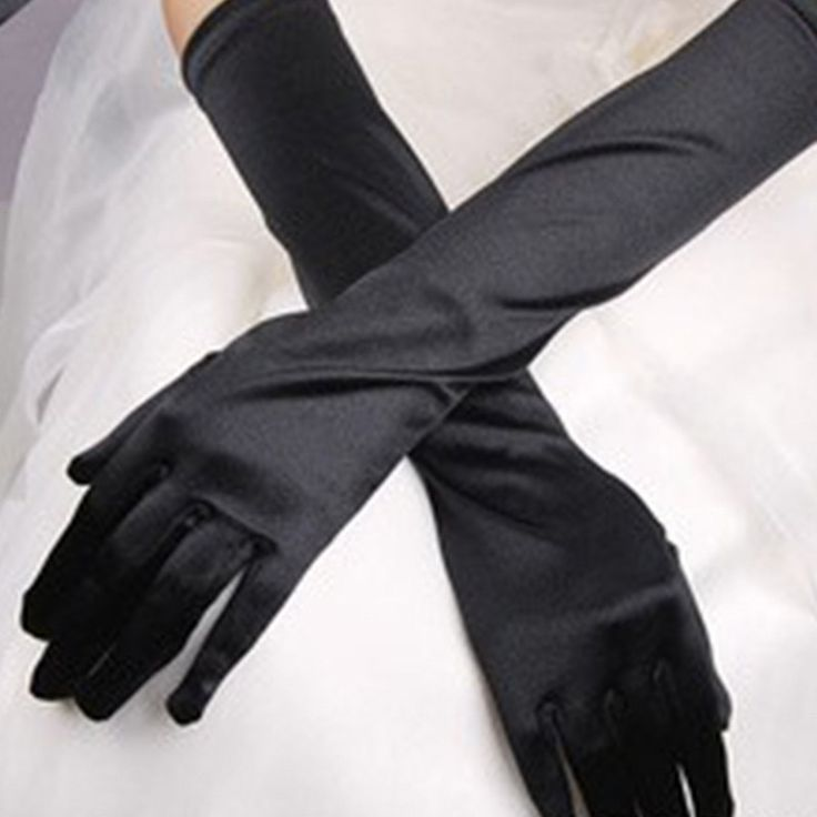 Chic Women Gloves Stretch Halloween Satin Gloves Evening Party Long Gloves