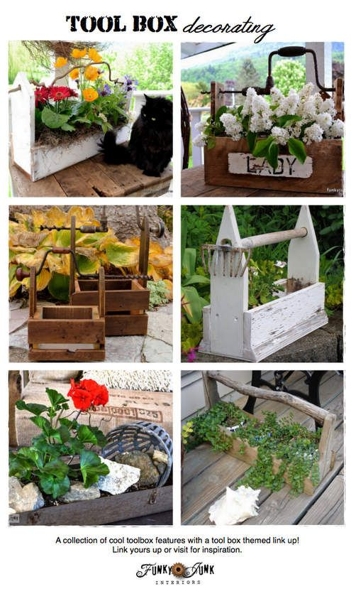 TOOL BOX DECORATING - features and a themed link party that never closes - come link up or just be inspired! via Funky Junk Interiors