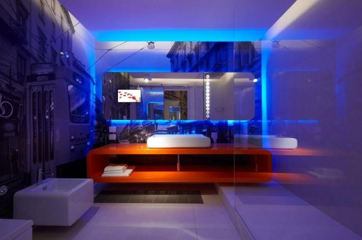 Amazing Small Bathroom Design With Blue Led Lights Decors Frameless Mirror Above Orange Cabinet And Square Sink Stainless The Top And Towels Shelves Under The Cabinet
