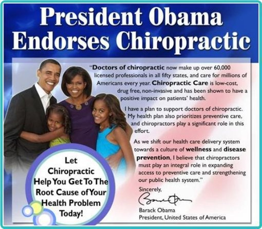 A presidential endorsement of chiropractic care? Excellent!