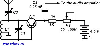The simplest regenerative receiver circuit diagram