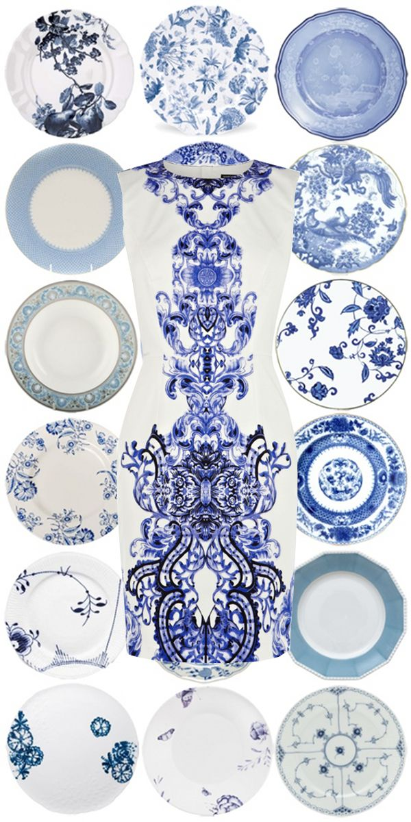 Blue and White | The Pursuit of Style - WILLIAMSBURG Imperial Blue dinnerware fourth down, right column!
