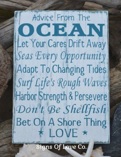 Beach Sign Advice From The Ocean Love Wedding Signs Nautical Decor Gift Beachy House Quotes Sayings Poem Wood Wall Art Sun Sand Sea