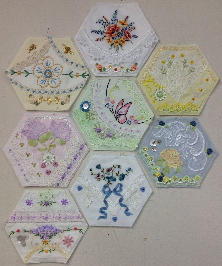 8 awesome Crazy Quilt Hexagons by Kay Lea. My mom has started her own hexagon project!!