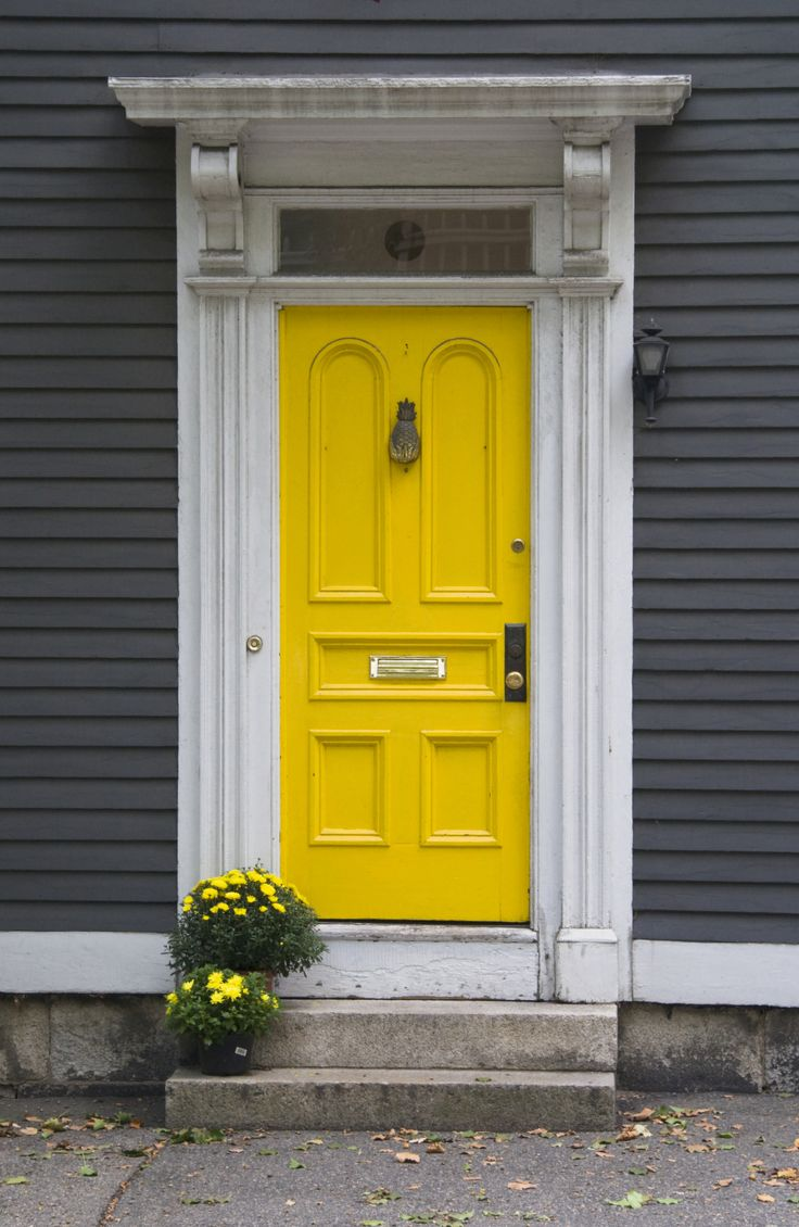 Seriously considering this color combination yellow door for Exterior yellow paint