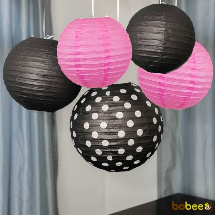 Black and Pink Party Decorations Paper Lanterns - Minney Mouse birthday party is the perfect combination for these pink and black paper lanterns!