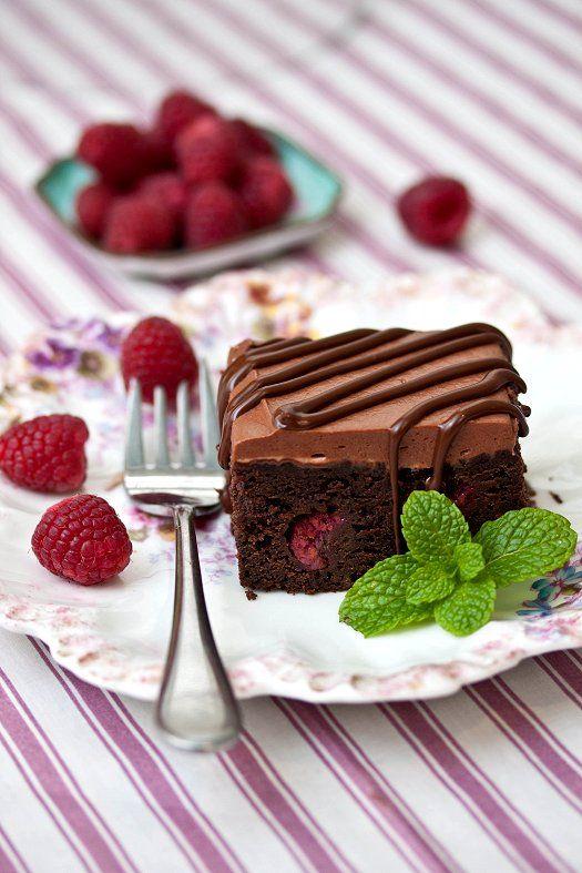 Raspberry Truffle Brownies