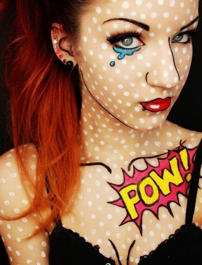 Look like you stepped right out of a comic book with this ultra-simple Halloween makeup look.