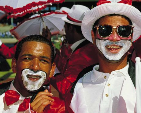 Colored men at the Carnival in Cape Town
