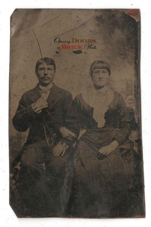 Unidentified Couple, ca. 1870s Photo type: Tintype Tintype #genealogy #oldphotos #vintage #tintype