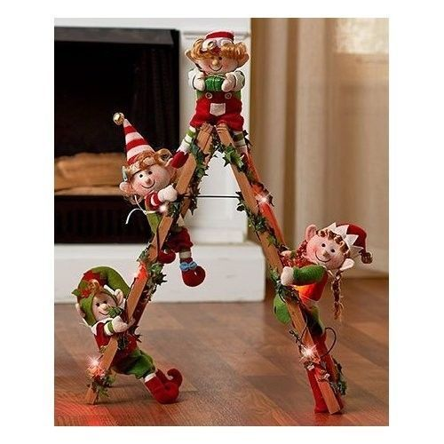 Christmas Elves Climbing Ladder Lighted 4 Elfs Holiday Christmas Home Decoration #OpportunityBestDealChristmaselves