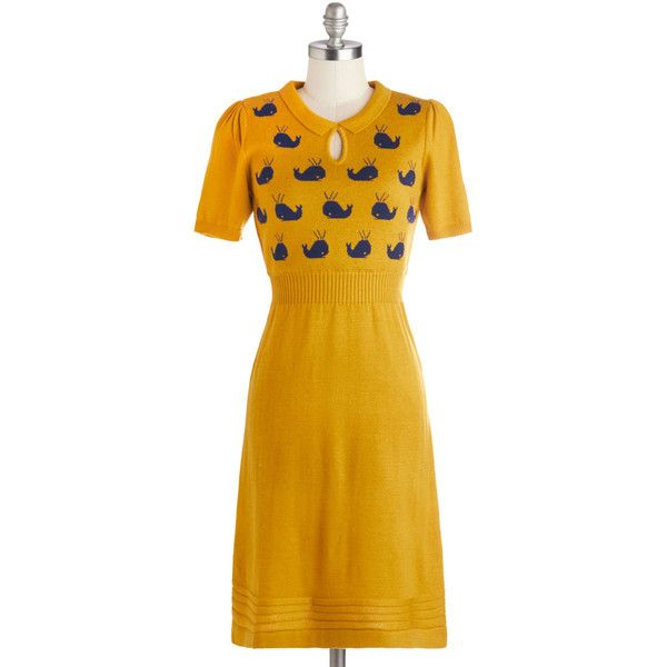 Yumi Nautical Mid-length Short Sleeves A-line Watching Wales Dress featuring polyvore women's fashion clothing dresses modcloth modcloth dresses apparel fashion dress yellow collar dress a line dress short sleeve dress yumi dresses a line silhouette dress