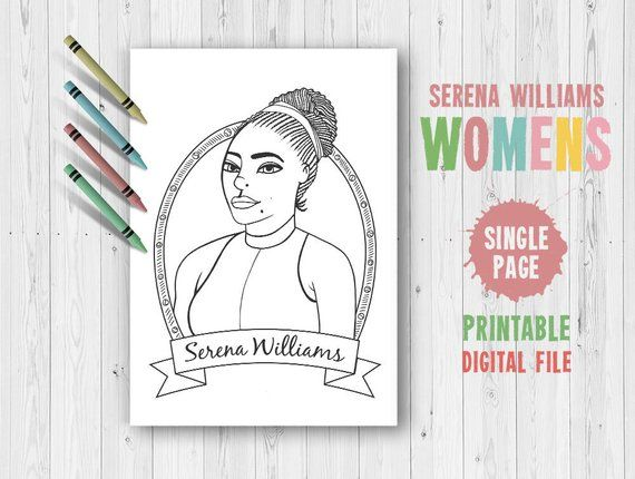 Serena Williams Coloring Pages Adult Coloring Serena Williams