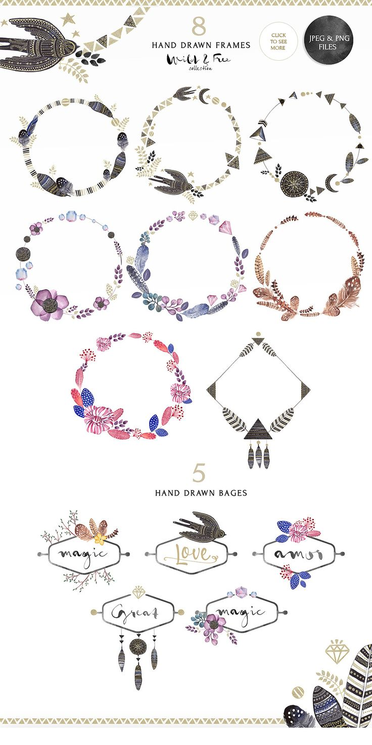 Love these rustic wreaths + clip art.