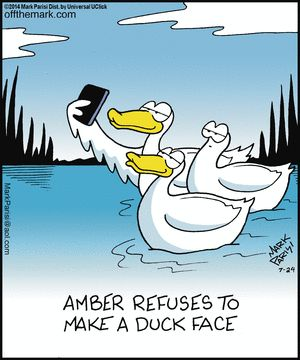 """Off the Mark Comic Strip, July 24, 2014 on GoComics.com  """"2013----the popular 'Duck Face' first made unintentional when taking a selfie..then came the """"duckface"""" jokes..ect."""